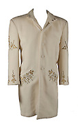 """Prince wardrobe and memorabilia; including Beaded Jacket from 'Under the Cherry Moon' to be auctioned  <br /> <br /> Prince's exquisitely made screen-worn beaded jacket from the 1986 film 'Under the Cherry Moon' will be auctioned by Boston-based RR Auction. <br /> <br /> The stunning lace jacket is covered in intricate, shimmering beadwork and faux pearls, and features a bolero-style front with a long, cape back. The jacket is easily photo-matched to the scene in the film where Prince and Mary are in the convertible under the full moon. <br /> <br /> """"This piece has never been laundered due to the delicate beading, and Prince's makeup is still present on the collar,"""" said Robert Livingston, Executive VP at RR Auction. <br /> <br /> Under the Cherry Moon was Prince's second movie as an actor (following Purple Rain), and his directorial debut. The soundtrack—the Parade album—was released to wide acclaim and featured Prince classics including 'Kiss,' 'Mountains,' and 'Girls & Boys.' Boasting ironclad provenance, this is a one-of-a-kind, elaborate wardrobe piece from one of Prince's films of the 1980s.<br /> <br /> The jacket originates from the collection of Prince's assistant, Therese Stoulil.  """"He was an extremely smart, articulate man with a very, very quick wit. He was driven by his creativity—there was always the next record, the next video, the next tour—it was 24/7,"""" said Stoulil in a statement posted on the auction house web site.  """"I will treasure those memories as well as the lifelong friendships I have to this day because of Prince and working at Paisley Park,"""" added Stoulil.<br /> <br /> """"This is a one-of-a-kind wardrobe piece from one of Prince's films of the 1980's— making it highly collectable,"""" said Robert Livingston Executive VP at RR Auction.<br /> <br /> Photo shows: Prince's personally owned and worn Cream Coloured Wool coat<br /> <br /> <br /> Additional highlights include:<br /> <br /> Prince's black-and-white striped bolero jacket designed by Sta"""