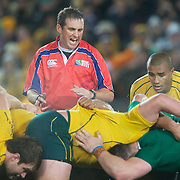 Referee Bryce Lawrence, New Zealand, policing the scrum during the Australia V Ireland Pool C match during the IRB Rugby World Cup tournament. Eden Park, Auckland, New Zealand, 17th September 2011. Photo Tim Clayton...