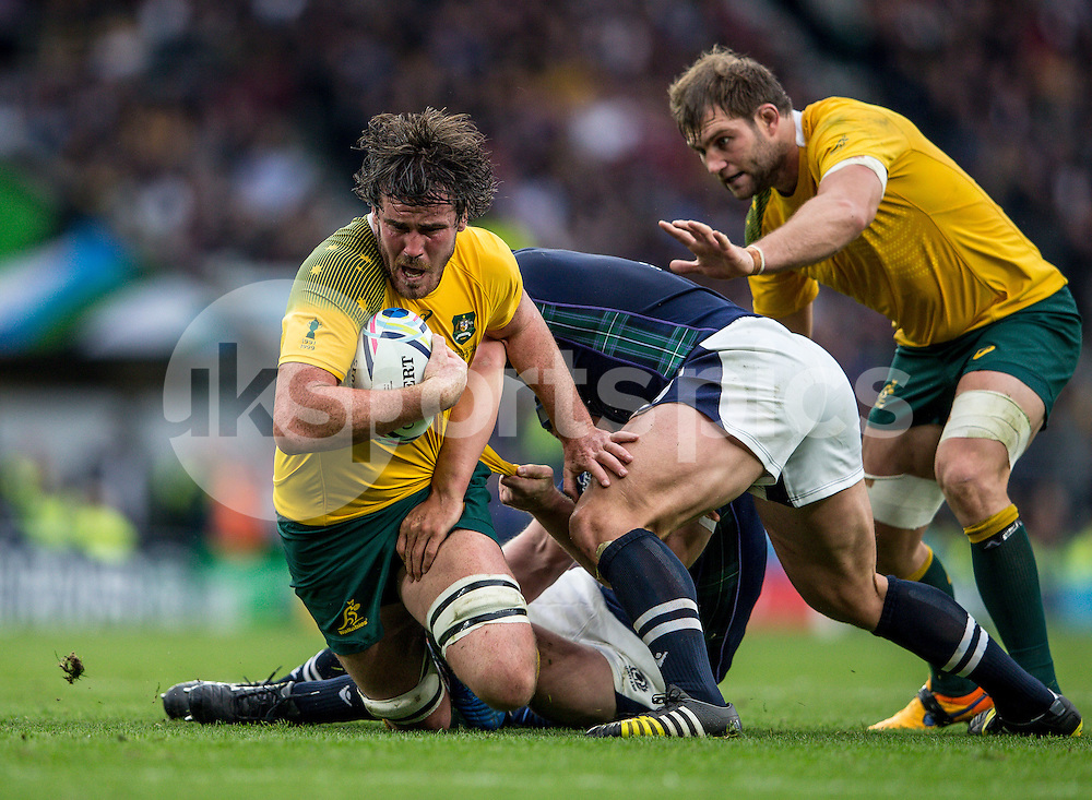 Kane Douglas of Australia during the Rugby World Cup Quarter Final match between Australia and Scotland played at Twickenham Stadium, London on the 18th of October 2015. Photo by Liam McAvoy.