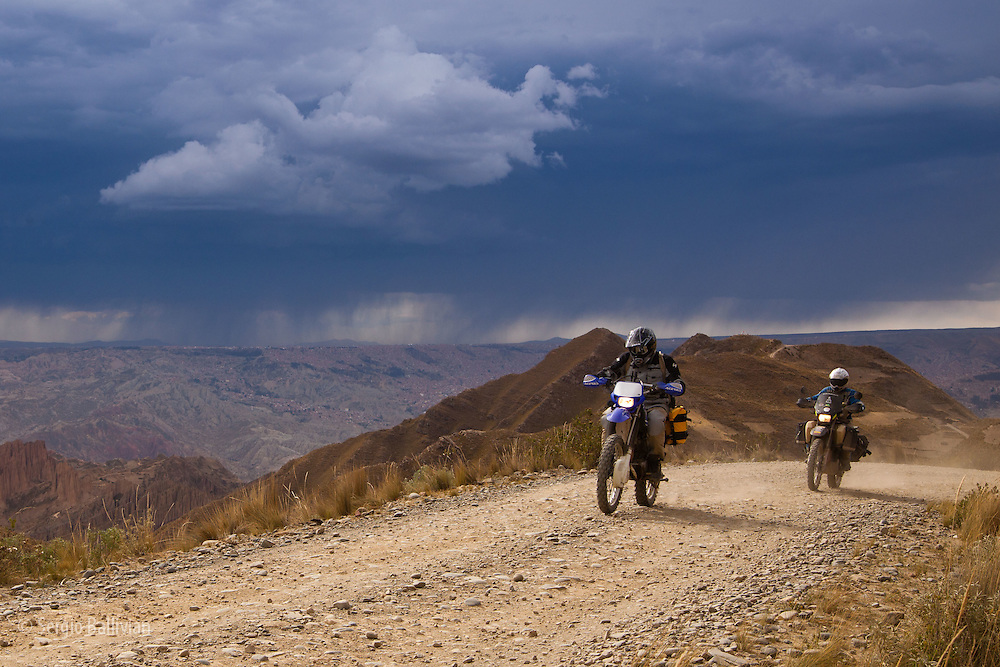 Motorcyle adventure touring around the Cumbre de Animas and the Muela del Diablo near La Paz, Bolivia.