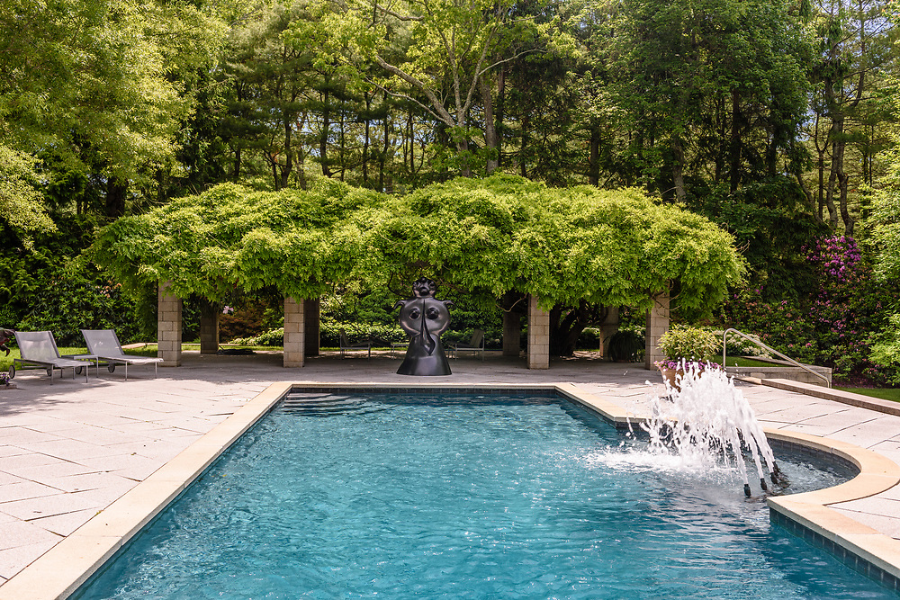 Sculpture by Joan Miro, Swimming Pool, Garden of Arne and Milly Glimche, Georgica Close Rd, East Hampton, NY, Parrish Art Museum Landscape Pleasure 2017 garden tour