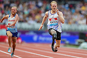 James ARNOTT Great Britain & NI and Jonathan PEACOCK of Great Britain & NI, in the Men's T44-64 100m during the Muller Anniversary Games 2019 at the London Stadium, London, England on 20 July 2019.