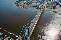 Aerial views of bridges from around the world Aerial view of Benjamin Franklin Bridge and the<br />  Delaware River