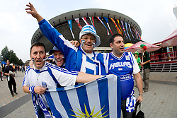Greek fans before the EuroBasket 2009 Quaterfinals match between Russia and Serbia, on September 17, 2009 in Arena Spodek, Katowice, Poland.  (Photo by Vid Ponikvar / Sportida)