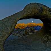 The scenic Alabama Hills nestled against the Eastern Sierra feature fantastic stone arches and wonderful views of Mt. Whitney, highest mountain in the contiguous 48 states.