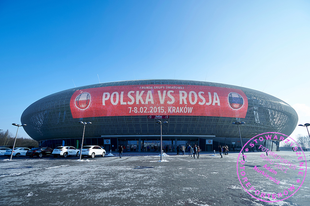Tauron Krakow Arena during First Day of the Fed Cup / World Group 1st round tennis match between Poland and Russia at Tauron Krakow Arena on February 7, 2015 in Cracow, Poland.<br /> <br /> Poland, Cracow, February 7, 2015<br /> <br /> Picture also available in RAW (NEF) or TIFF format on special request.<br /> <br /> For editorial use only. Any commercial or promotional use requires permission.<br /> <br /> Adam Nurkiewicz declares that he has no rights to the image of people at the photographs of his authorship.<br /> <br /> Mandatory credit:<br /> Photo by &copy; Adam Nurkiewicz / Mediasport