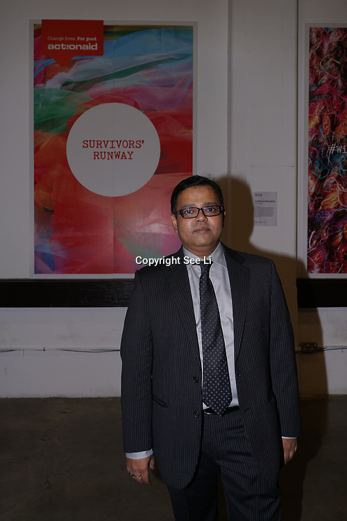U Block 146 Brick Lane, London, UK. 10th October, 2017. Sheikh Muhammad Manjur-E-Alam of Bangladeshi Actionaid attend the ActionAid Survivors Runway - fashion show showcase the inner strength and dignity of survivors who have had the courage to speak out against gender-based violence