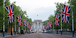 The Mall London , UK  26/04/2011. The Royal Wedding of HRH Prince William to Kate Middleton. Union Flags are flown in Pall Mall ahead of the Royal Wedding Photo credit should read ALAN ROXBOROUGH/LNP. Please see special instructions. © under license to London News Pictures