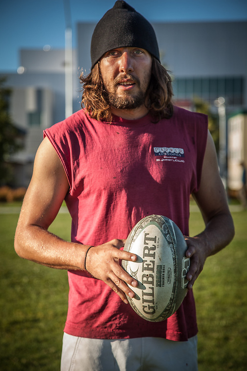 "Rugby player Danno Lewis on the Delaney Park Strip in Anchorage.  ""I'm from Colorado and I've been in Alaska for one month.  I'm working for an asphalt company and so far, I love it here.""  stickdug1115@yahoo.com"