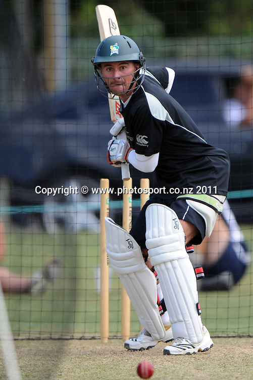 Kruger Van Wyk during a Black Caps training session at Nelson Park in Napier ahead of the first cricket test against Zimbabwe starting this week. Tuesday 24 January 2012. Napier, New Zealand. Photo: Andrew Cornaga/Photosport.co.nz