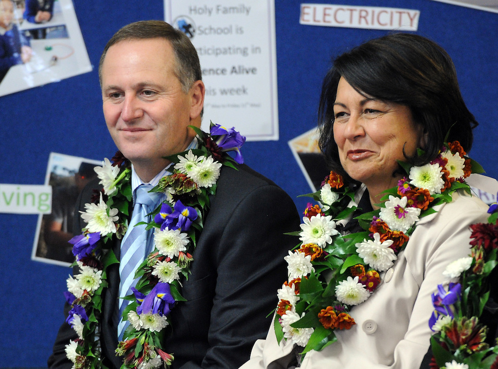 Prime Minister John Key, left and Minister of Education Hekia Parata at the announcement of Rheumatic Fever testing at schools, the Holy Family School, Porirua, New Zealand, Wednesday, May 09, 2012. Credit:SNPA / Ross Setford
