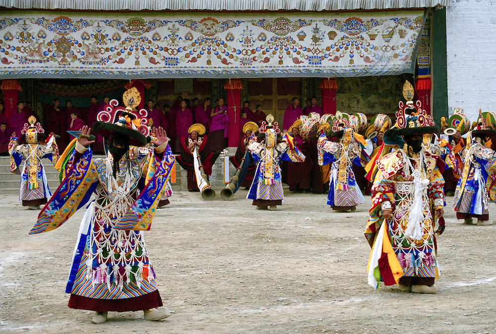 &quot;Black Hats&quot; dancers are performing a Cham (dance of Spirits)<br /> Monks of the Gelukpa order are performing a Cham (dance of Spirits) in the monastery of Labrang, during Monlam Chenmo (the Great Prayer). Chams dances symblize the victory of the Dharma (the speech of Buddha) against its ennemies. Xiahe, China, March 3 2007.