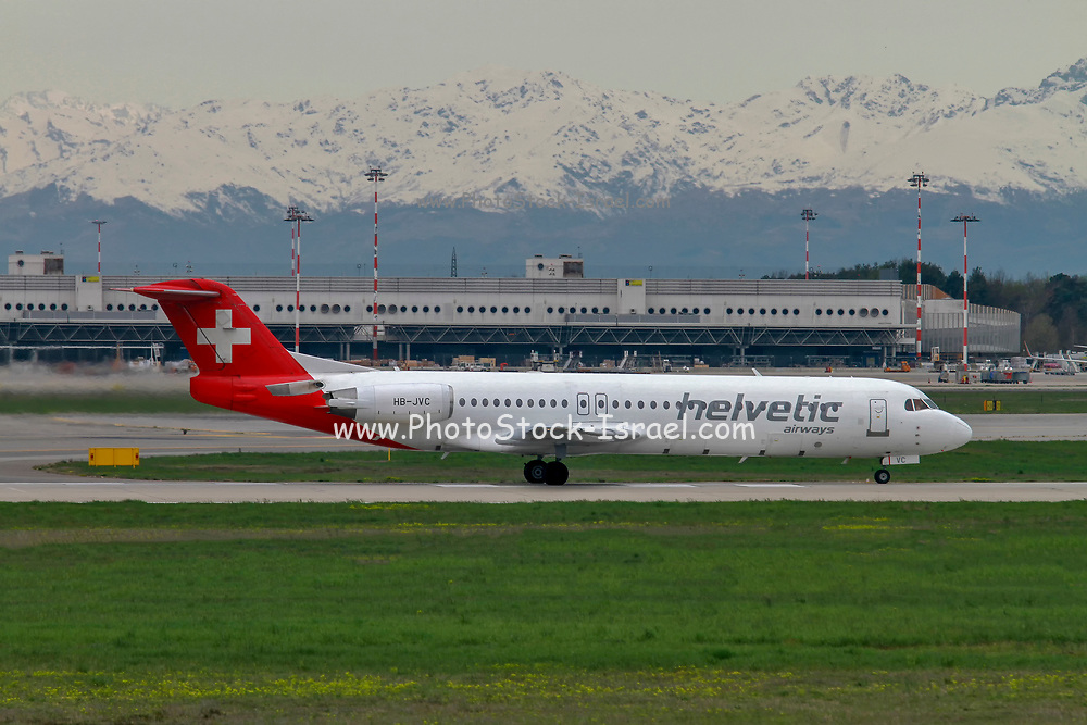 Helvetic Airways, Fokker F100 at Malpensa (MXP / LIMC), Milan, Italy