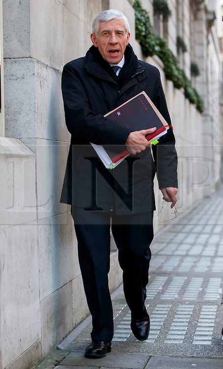 © Licensed to London News Pictures. 23/02/2015. LONDON, UK. Ex-Foreign Secretary Jack Straw, who suspended from Labour Party after being secretly filmed apparently offering their services to a private company for cash,  arriving Milbank studios in central London on Monday, 23 February 2015. Photo credit : Tolga Akmen/LNP