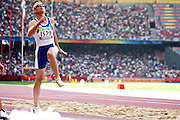 Athanasios BARAKAS of Greece in The Bird's Nest National Stadium competeing in the men's long jump F11 at the Paralympic games, Beijing, China. 15th September 2008