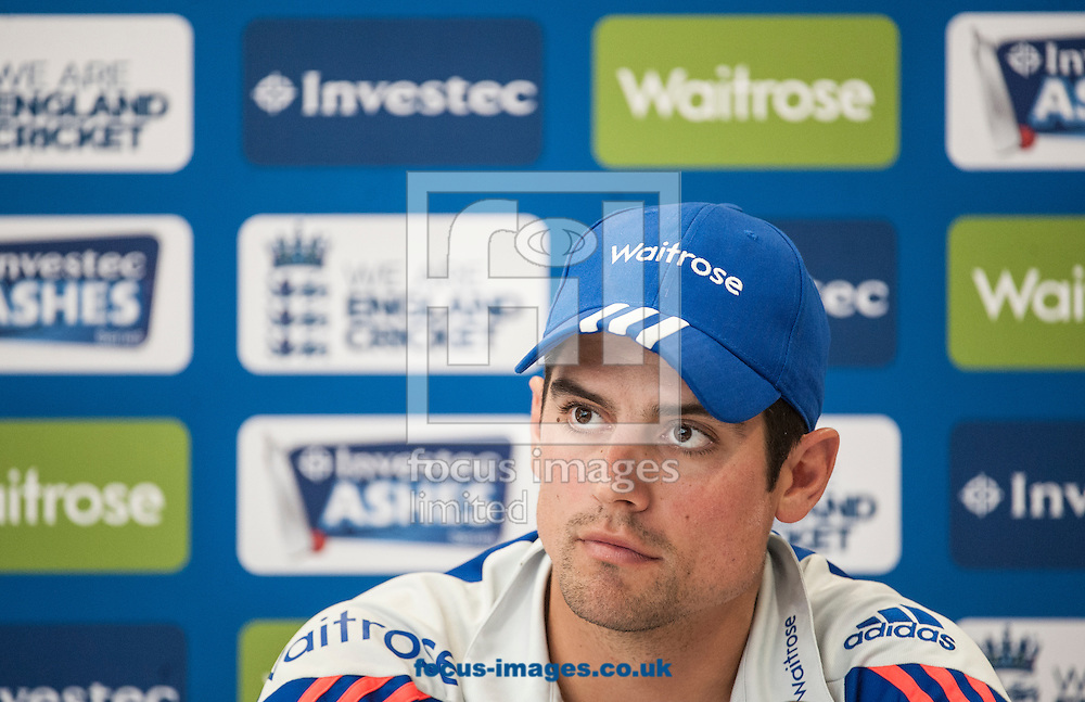 Alastair Cook speaks to the press during the England Press Conference at Lord's, London<br /> Picture by Jack Megaw/Focus Images Ltd +44 7481 764811<br /> 15/07/2015