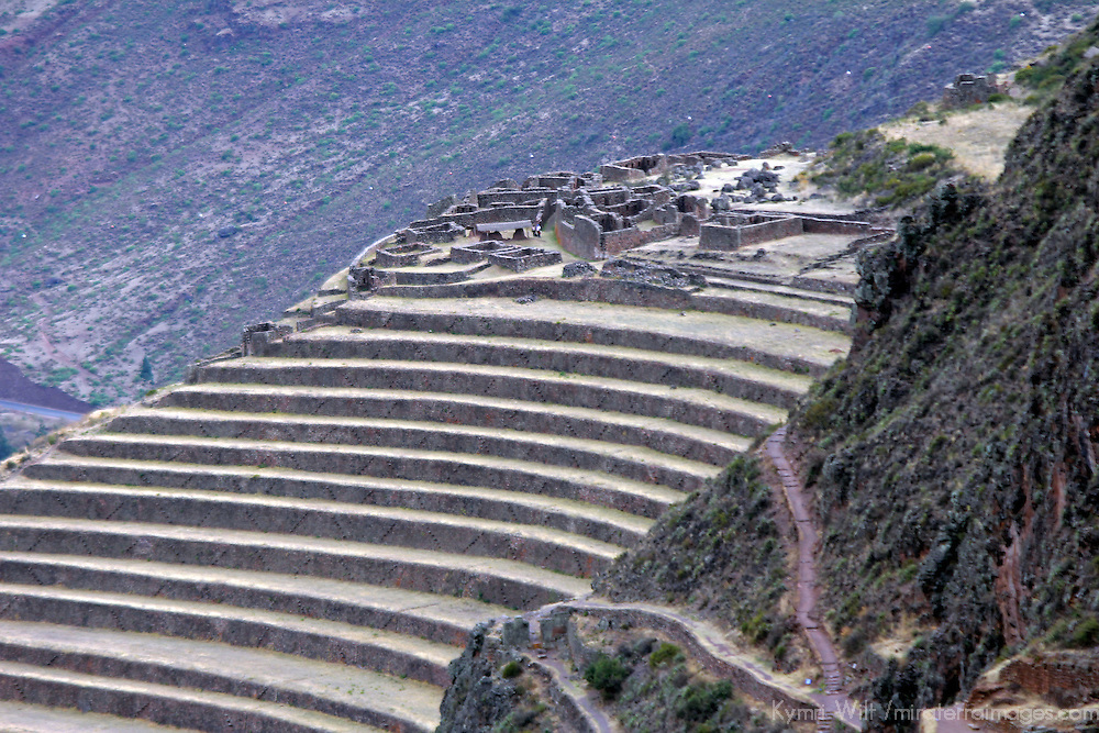 South America, Peru, Pisac. Inca Písac, terraced ruins at Pisac in the sacred Valley.