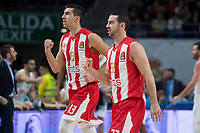 Crvena Zvezda Ognjen Dobric and Taylor Rochestie during Turkish Airlines Euroleague match between Real Madrid and Crvena Zvezda at Wizink Center in Madrid, Spain. December 01, 2017. (ALTERPHOTOS/Borja B.Hojas)