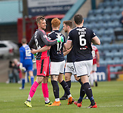 5th May 2018, Dens Park, Dundee, Scotland; Scottish Premier League football, Dundee versus Hamilton Academical; Simon Murray congratulates Dundee goalkeeper Elliott Parish at full time