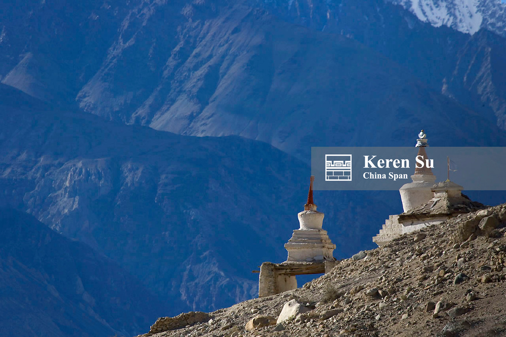 Chortens in the Karakorum, Nubra Valley, Ladakh, India