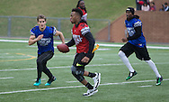 Tampa Bay Buccaneers Linebacker Kwon Alexander eludes UFC's Sage Northcutt during game action, Super Bowl 51 - 16th Annual Celebrity Flag Football Challenge, Rhodes Stadium,  4 Feb 2017, Katy TX.  Red Team Captain Kirk Cousins would lose for the 2nd straight year to Doug Flutie's Blue team by a final score of 40-35.