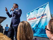09 AUGUST 2019 - DES MOINES, IOWA: ANDREW YANG speaks at the Iowa State Fair. Yang, an entrepreneur, is running for the Democratic nomination for the US Presidency in 2020. He spoke at the Des Moines Register Political Soapbox at the Iowa State Fair Friday. Iowa hosts the the first election event of the presidential election cycle. The Iowa Caucuses will be on Feb. 3, 2020.       PHOTO BY JACK KURTZ