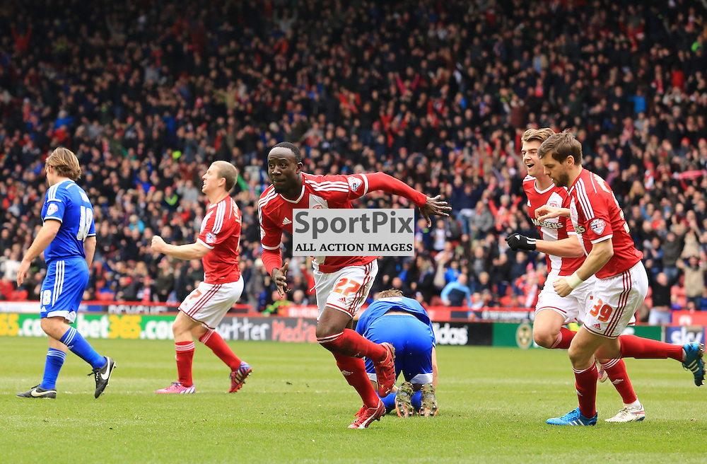 Middlesbrough midfielder Albert Adomah (27) celebrates after scoring a stunning second goal during the Middlesbrough FC v Ipswich Town FC Sky Bet Championship 14th March 2015 ©Edward Linton | SportPix.org.uk