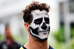 Daniel Ricciardo (AUS) Red Bull Racing with Halloween themed face paint.<br /> 27.10.2016. Formula 1 World Championship, Rd 19, Mexican Grand Prix, Mexico City, Mexico, Preparation Day.<br />  Copyright: Price / XPB Images / action press