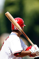 5 May 2007: Right handed batter with wood Louisville bat wearing Easton Gloves, MLB Angels at Angel Stadium.