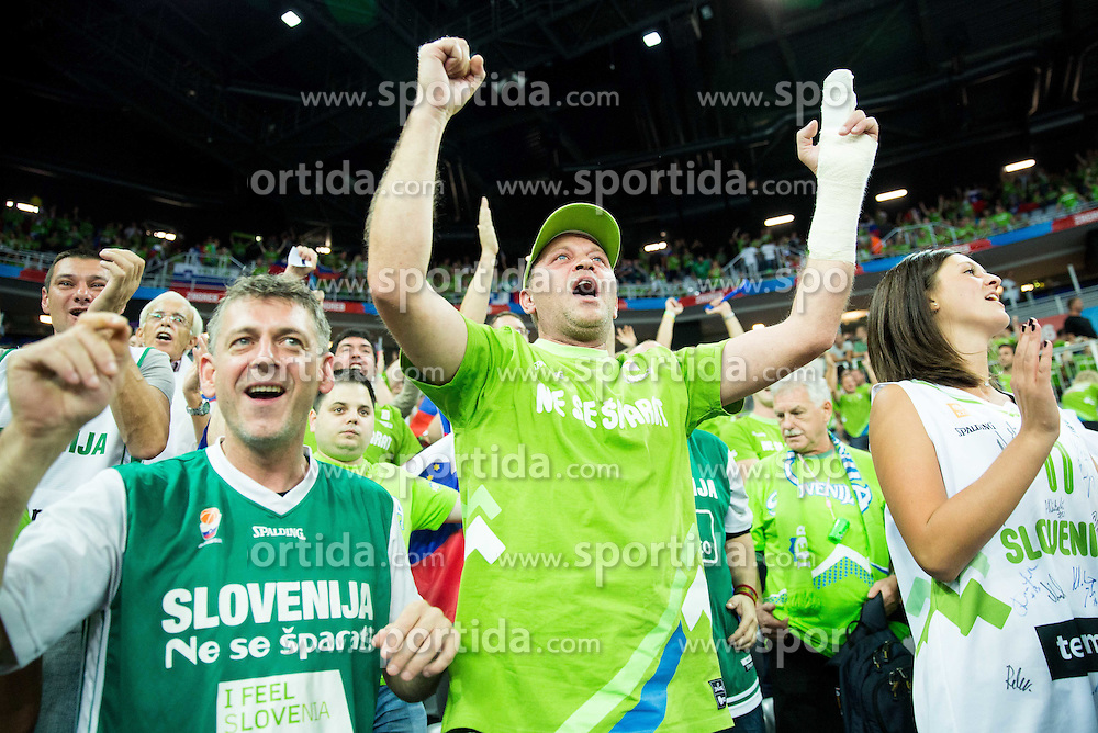 Supporters of Slovenia during basketball match between Croatia and Slovenia at Day 1 in Group C of FIBA Europe Eurobasket 2015, on September 5, 2015, in Arena Zagreb, Croatia. Photo by Vid Ponikvar / Sportida