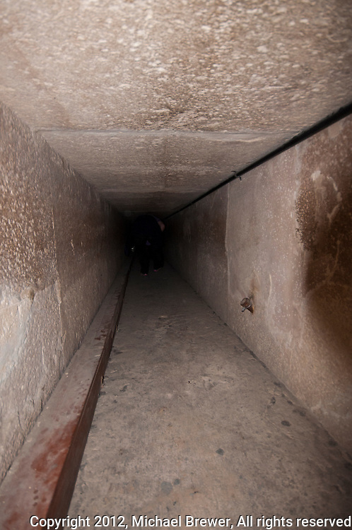 Looking along the shaft leading to the Queen's Chamber in the Great Pyramid, Giza, Egypt.