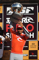 SAN FRANCISCO, CA - NOVEMBER 02: Kelly Slater celebrates after the Rip Curl Pro Search on November 2, 2011 in San Francisco, California. Slater won his heat to win his 11th ASP Men's World Title. (Photo by Jed Jacobsohn)