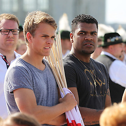 15.07.2014, Flughafen, Muenchen, GER, FIFA WM, Empfang der Weltmeister in Deutschland, Finale, im Bild Breno Vinicius Rodrigues (FC Bayern) // during Celebration of Team Germany for Champion of the FIFA Worldcup Brazil 2014 at the Flughafen in Muenchen, Germany on 2014/07/15. EXPA Pictures © 2014, PhotoCredit: EXPA/ Eibner-Pressefoto/ Kolbert  *****ATTENTION - OUT of GER*****