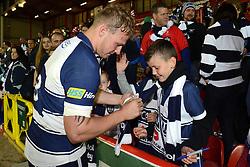 Bristol No.8 Mitch Eadie signs autographs - Photo mandatory by-line: Dougie Allward/JMP - Mobile: 07966 386802 - 20/05/2015 - SPORT - Rugby - Bristol - Ashton Gate - Bristol Rugby v Worcester Warriors - Greene King IPA Championship - Play-Off Final