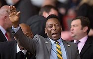Brazilian legend Pele arrives in the stadium before the Barclays Premier League match at Anfield, Liverpool<br /> Picture by Russell Hart/Focus Images Ltd 07791 688 420<br /> 22/03/2015