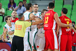 Fight at friendly match between Slovenia and Montenegro for Adecco Cup 2011 as part of exhibition games before European Championship Lithuania on August 7, 2011, in SRC Stozice, Ljubljana, Slovenia. (Photo by Urban Urbanc / Sportida)