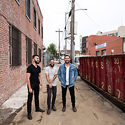 June 28, 2016 - New York, NY : From left, Dhruv Chopra, Jake Rosenthal, and Rami Haykal, who co-owned the Williamsburg performance space 'Glasslands Gallery,' until it closed in 2014, pose for a portrait outside 599 Johnson Ave. on Tuesday afternoon. The trio are planning to open their new venue 'Elsewhere' at 599 Johnson Ave. in Bushwick, Brooklyn. CREDIT: Karsten Moran for The New York Times