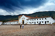 Colombia, Villa de Leyva, Plaza Mayor, Andes Mountains Town, Spanish Colonial, Declared A National Monument In 1954, Iglesia Parroquial Fronts The Square, South America