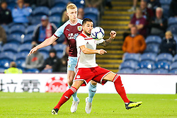 Miguel Angel Guerrero of Olympiakos takes on Ben Mee of Burnley - Mandatory by-line: Robbie Stephenson/JMP - 30/08/2018 - FOOTBALL - Turf Moor - Burnley, England - Burnley v Olympiakos - UEFA Europa League Play-offs second leg