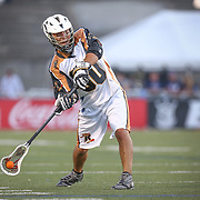 Donny Moss #80 of the Rochester Rattlers throws the ball during the game at Harvard Stadium on August 9, 2014 in Boston, Massachusetts. (Photo by Elan Kawesch)