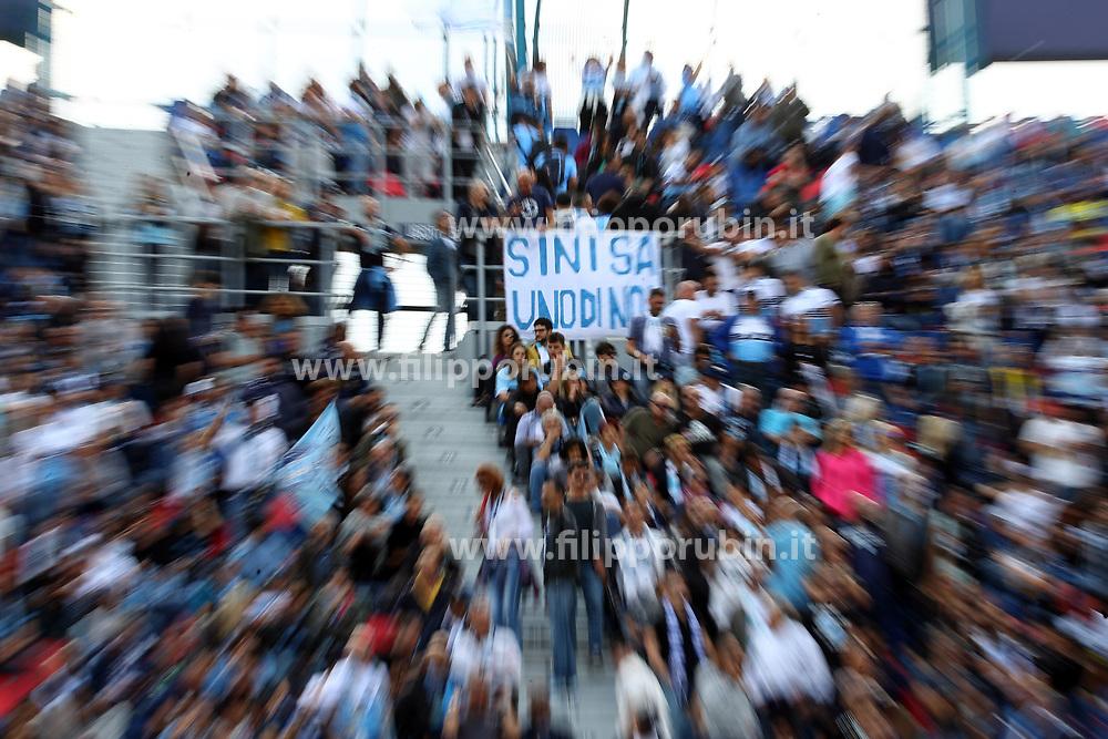 """Foto Filippo Rubin<br /> 06/10/2019 Bologna (Italia)<br /> Sport Calcio<br /> Bologna - Lazio - Campionato di calcio Serie A 2019/2020 - Stadio """"Renato Dall'Ara""""<br /> Nella foto: STRISCIONE DEI TIFOSI DELLA LAZIO PER SINISA MIHAJLOVIC (ALLENATORE BOLOGNA)<br /> <br /> Photo by Filippo Rubin<br /> October 06, 2019 Ferrara (Italy)<br /> Sport Soccer<br /> Bologna vs Lazio - Italian Football Championship League A 2019/2020 - """"Dall'Ara"""" Stadium <br /> In the pic: SIGN FOR SINISA MIHAJLOVIC (BOLOGNA FC COACH)"""