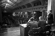 18/04/1963<br /> 04/18/1963<br /> 18 April 1963<br /> Closed circuit telephonic Pig Production meeting at the R.D.S., Dublin. Meetings on pig production were held simultaneously at the R.D.S. and Preston, Lancashire using closed circuit telephonic link. The meetings were sponsored by Smith, Kline and French Laboratories Ltd. and Goodbody Ltd. Picture shows W.E. Fletcher, M.R.C.V.S.  addressing the meeting. Included (l-r) J. Joyce, Chairman Rath Co-op, Co. Carlow and W.R. Day, Department of Agriculture who presided.