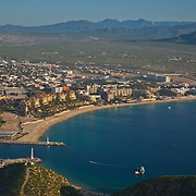 Aerial view of Medano beach. Cabo San Lucas, BCS. Mexico.