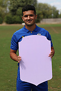 AFC Wimbledon midfielder Neset Bellikli (27) holding Fifa sign during the AFC Wimbledon 2018/19 official photocall at the Kings Sports Ground, New Malden, United Kingdom on 31 July 2018. Picture by Matthew Redman.