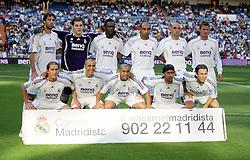Real Madrid Team Group 2006/07.(Back Row L/R) Ruud van Nistelrooy - Casillas - Diarra - Emerson - Raul Bravo - David Beckham.(Front Row L/R ) Salgado - Cannavaro - Roberto Carlos - Raul - Cassano.Real Madrid /Villarreal  La Liga  27/08/06 .