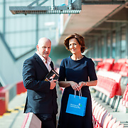 31.05.2018.          <br /> LEO Limerick welcomed Sean Gallagher to Limerick to talk about his new book 'Secrets to Success- Inspiring Stories from Leading Entrepreneurs'.<br /> Pictured at the event in Thomond Park were, Sean Gallagher and guest speaker, Vicki O'Toole. Picture: Alan Place