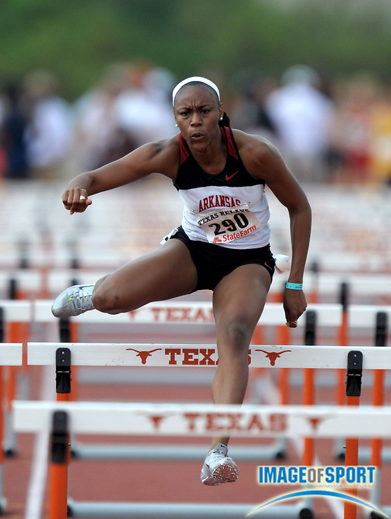 Mar 30, 2012; Austin, TX, USA; Ivanique Kemp of Arkansas wins womens 100m hurdle heat in 13.35 in the 85th Clyde Littlefield Texas Relays at Mike A. Myers Stadium.