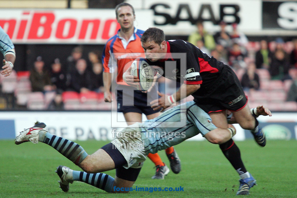 London - Sunday, November 4th, 2007: Saracens Edd Thrower is tackled by Bristol's Rob Higgitt during the EDF Energy Cup match at Vicarage Road, London. (Pic by Mark Chapman/Focus Images)