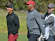 USC golfer Justin Suh and Athletic Director Lynn Swan walk down the 4th fairway. College players were paired with tour pros during the Collegiate Showcase during the Genesis Open at Riviera Country Club. The low scoring college player will get an exemption to play in the tournament that begins on Thursday. Los Angeles, CA 1/025/2018 (Photo by John McCoy)
