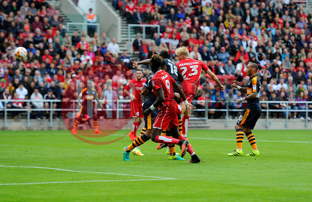 Hordur Magnusson of Bristol City heads towards goal  - Mandatory by-line: Joe Meredith/JMP - 20/08/2016 - FOOTBALL - Ashton Gate - Bristol, England - Bristol City v Newcastle United - Sky Bet Championship